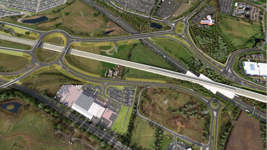 Artist's impression of the completed highways network near the future HS2 Interchange Station