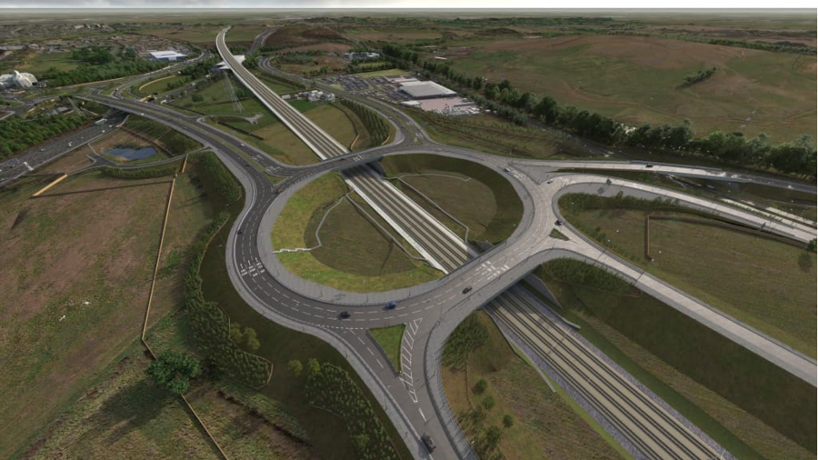 Artist's impression of the new highways bridges over the future HS2 railway route
