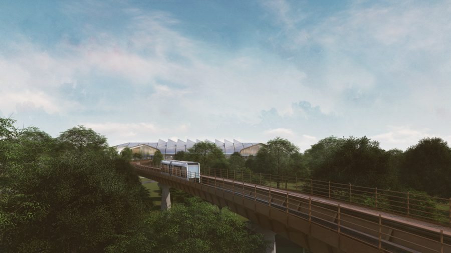 Automated people mover (APM) viaduct leading to HS2 Interchange Station