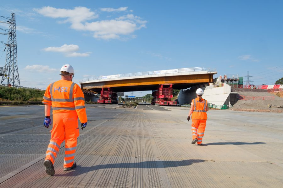 The new highways bridge shortly after being installed over the M42