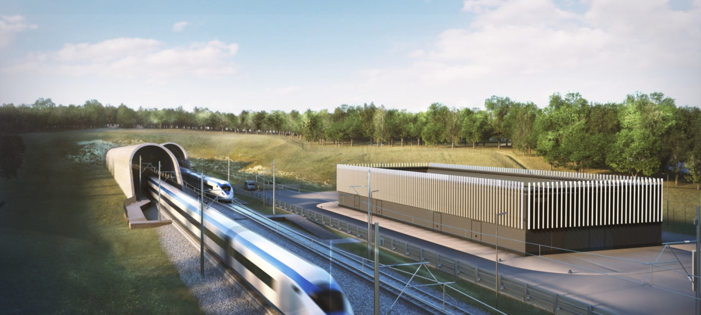 Architect's impression of the Chiltern Tunnel South Portal in Hertfordshire.
