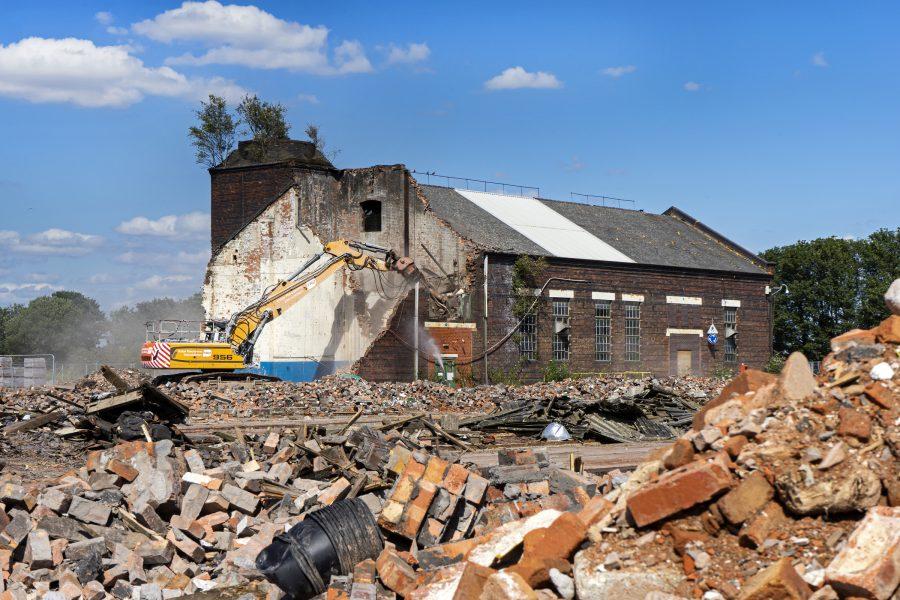 Demolition in progress at Washwood Heath, July 2019