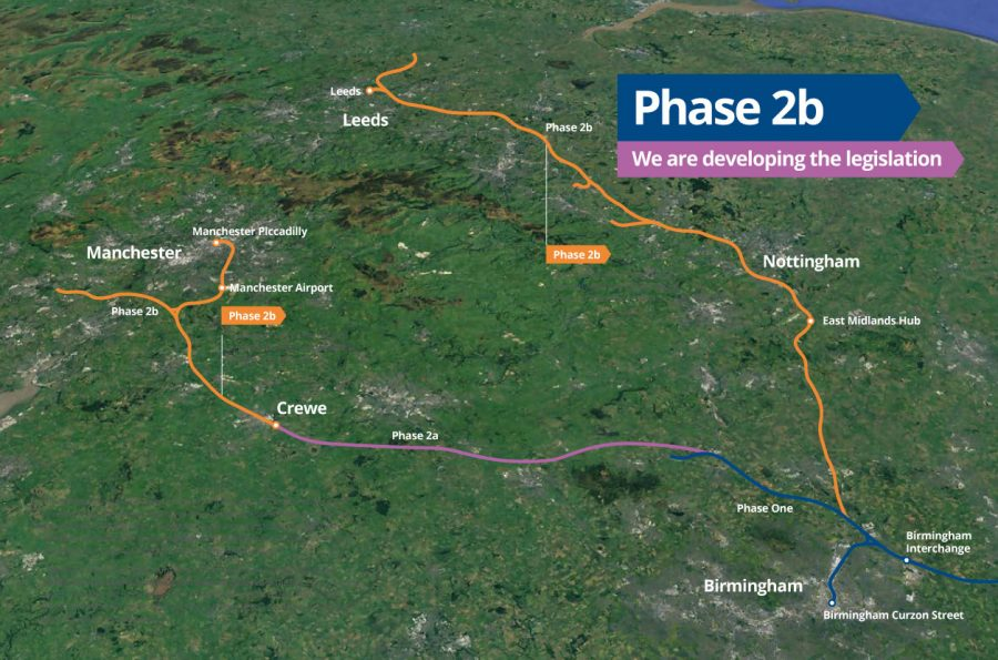 Simple map showing the proposed HS2 Phase 2b route, October 2020