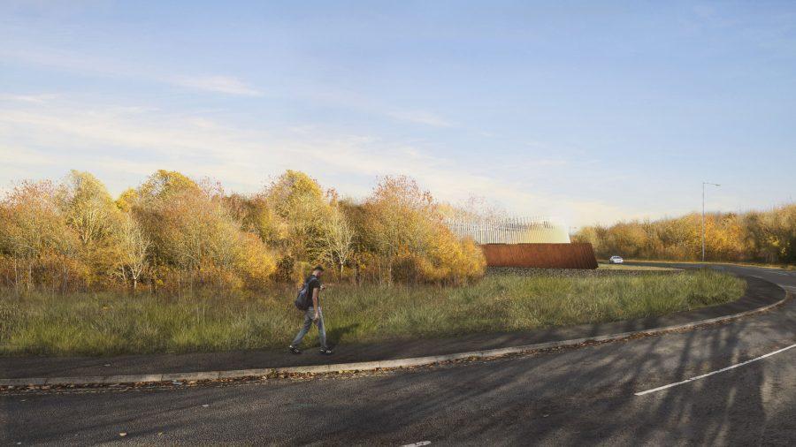Amersham vent shaft headhouse as seen from Whielden Lane walking eastbound