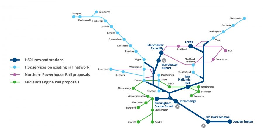 High speed rail network map