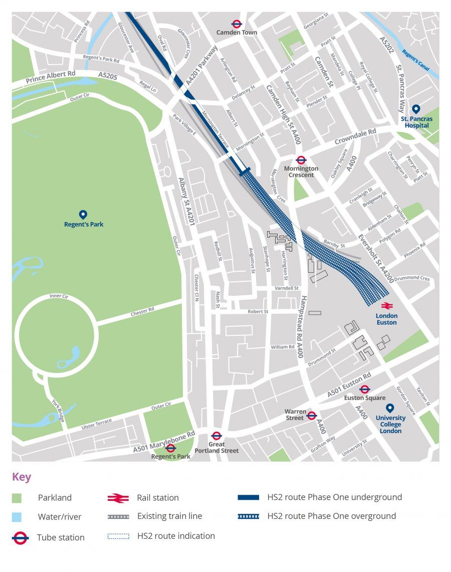 Map showing an overview of the HS2 route in Camden