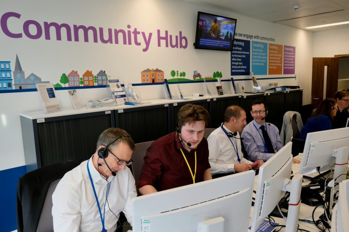 HS2 staff working at the Community Hub